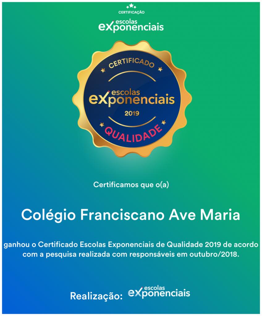 Certificado Escolas Exponencias de Qualidade
