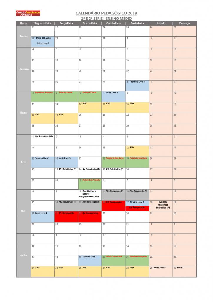 Calendário Pedagógico - 1º e 2º EM (2019) 01