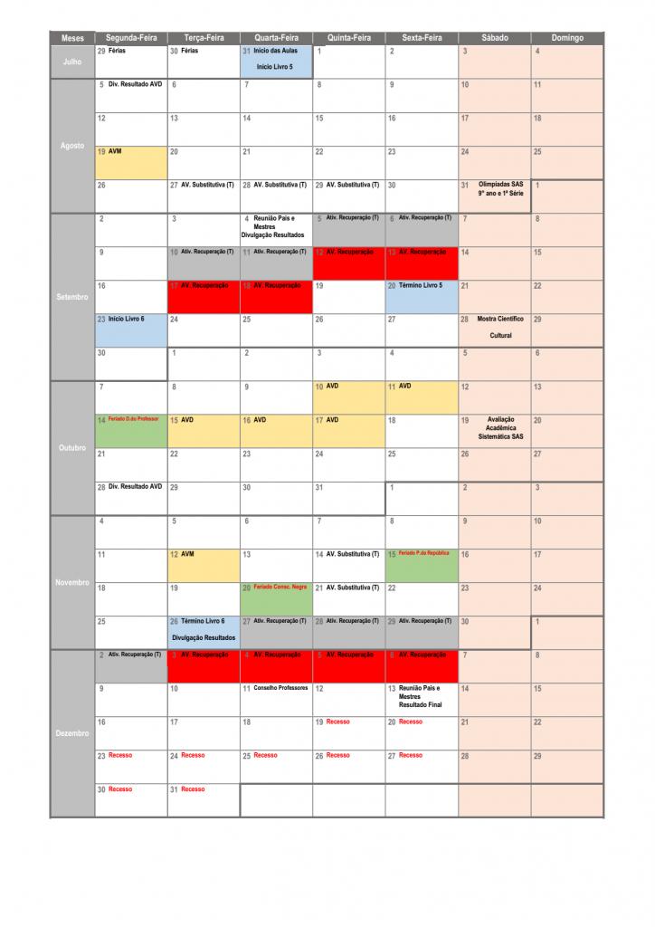 Calendário Pedagógico - 1º e 2º EM (2019) 02