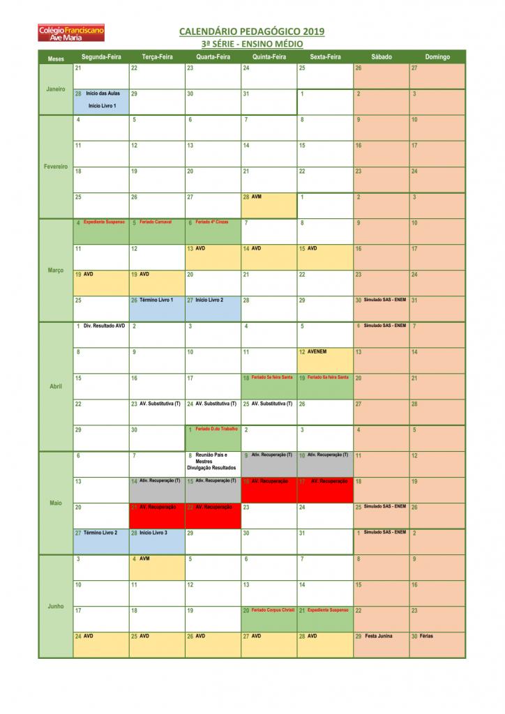 Calendário Pedagógico - 3ª EM (2019) 01