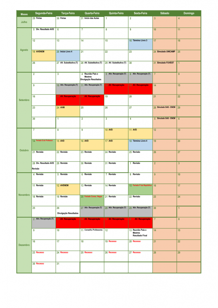 Calendário Pedagógico - 3ª EM (2019) 02