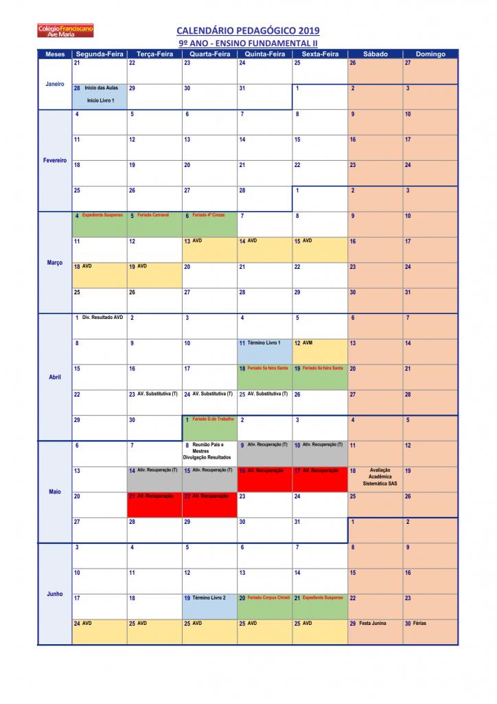 Calendário Pedagógico - 9º ano (2019) 01