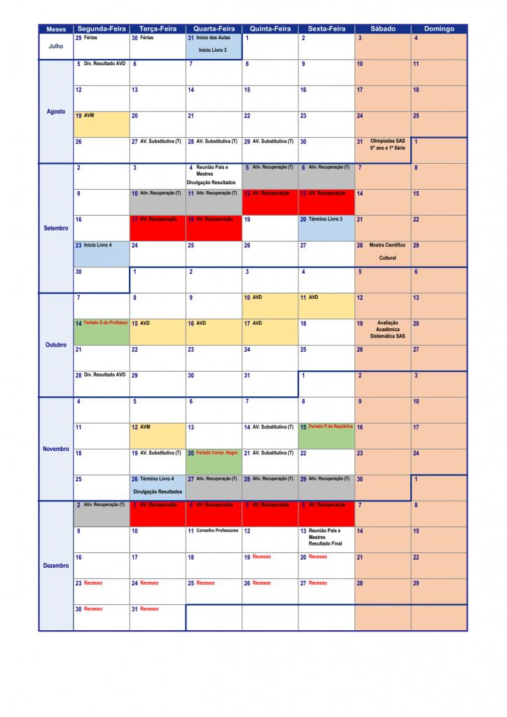 Calendário Pedagógico - 9º ano (2019) 02