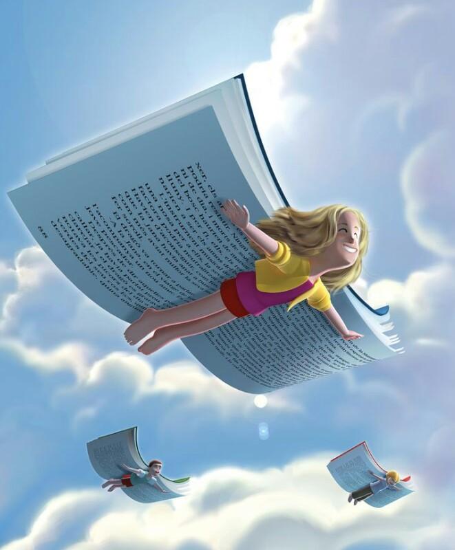 Livros voando